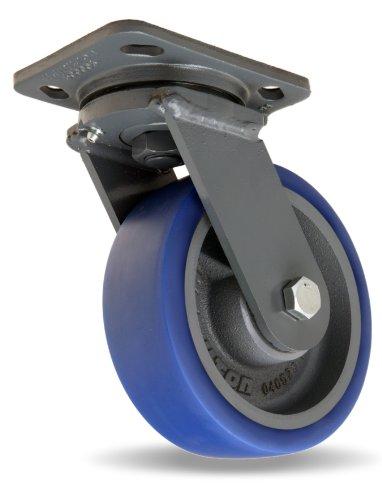 Hamilton Workhorse Plate Caster, Swivel, Poly-Soft Polyurethane Wheel, Precision Ball Bearing, 940 lbs Capacity, 6