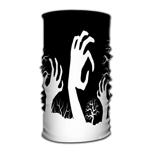 Multi Function Magic Scarf Constructed with High Performance Rotating Illusion Tube Mask White Horror Zombi Hands Tree Silhouettes White -