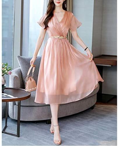 Kleid, Satin Langer Rock mit V-Ausschnitt im A-Stil 2 Farben 4 Größen (Color : A, Size : L)