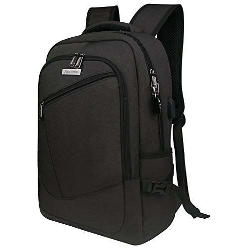 Business Travel Backpack,Tzowla Causal College Laptop Backpack for Men Women Water Resistant Computer Bag with USB Charging Port Anti Theft Backpack for 15.6 In Laptops (Black)
