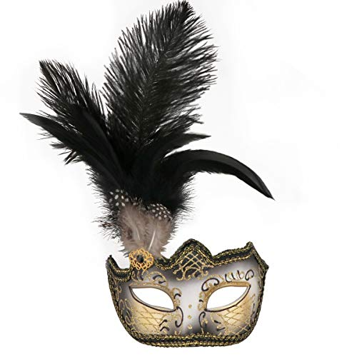 Masquerade Mask Halloween Ball Mask Christmas Costume Party Mask with Feather ()