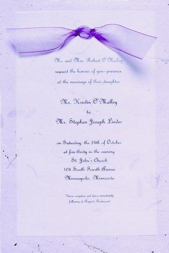 Gartner Studios Hand-Made Paper Wedding Invitation Kit, Lavender, 10-Count (61032)