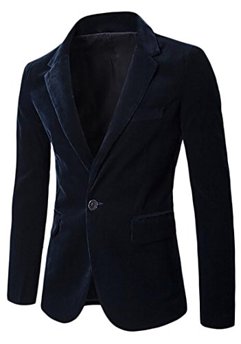 Sleeve Jacket Blazer Navy Long Slim Mens blue Corduroy Fit UK today wxXf0qSX