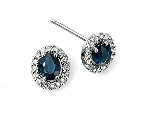 Or blanc 9Ct Saphir Bleu et Diamant Boucles d'oreilles grappe