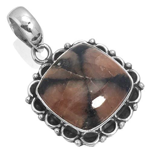 Solid 925 Sterling Silver Pendant Natural Chiastolite Cross Stone Gemstone Designer Jewelry