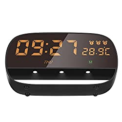 Eliubing Smart Touch Alarm Clock ,Space Aluminum Alloy Shell Large Touch LED Display Time Date Week Temperature 3 Night light 3 Alarm clock setting with Snooze(Black)