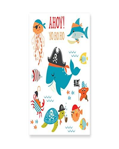 Lunarable Kids Wall Art, Ahoy Pirate Whale Turtle Pipe Hook Crab Octopus Captain Seastar and Swordfish Art, Gloss Aluminium Modern Metal Artwork for Wall Decor, 11.6 W X 23.5 L (Cheap Captain Hook Costume)