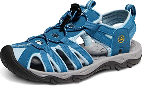- ATIKA Women's Sports Sandals Trail Outdoor Water Shoes 3Layer Toecap, Liv(w200) - Blue, 10