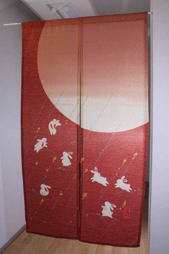 Japanese Noren W:85cm(33.46in) X H:150cm(59in) Rabbit Dark Red Lame Yarn by Narumi noren (Image #1)