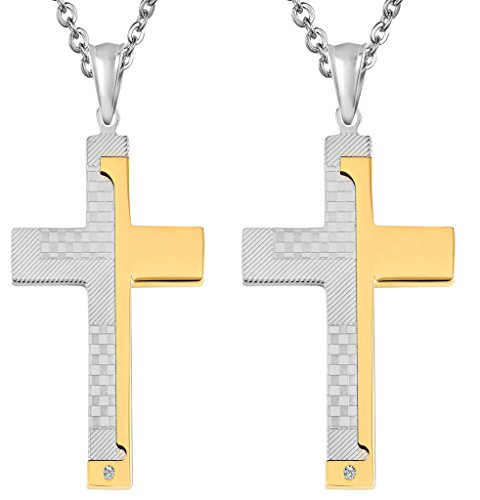 Daesar 2PCS His & Hers Matching Set Necklace Stainless Steel CZ Classic Cross With Chain