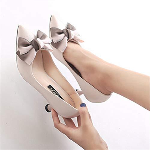 Toe À Chaussures Bout Talons Femmes Abricot Noeud Hauts Élégantes Escarpins Pointu 017aIX