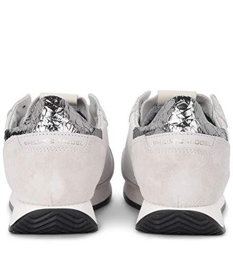 Leather Women's and West White Sneaker Grey and Suede Model Tropez Vintage White Philippe 4qw5xFp85