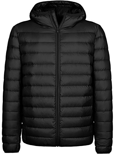Wantdo Men's Packable Windproof Light Weight Down Jacket with Hood, S, Black