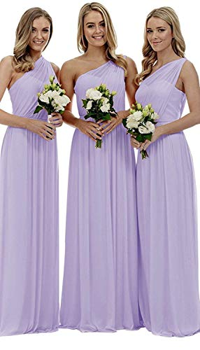 (Women's One-Shoulder Ruched Chiffon Formal Prom Gown Long Evening Party Dress Size 14 Lilac)