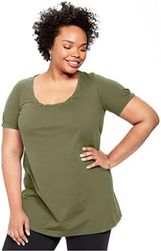 Women's Plus Size Shirred A-Line Tunic
