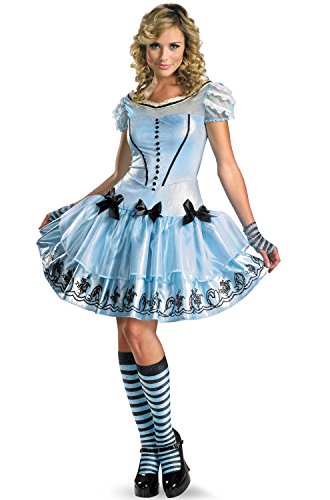 Make An Alice In Wonderland Costumes (Disguise Women's Alice In Wonderland Movie Sassy Dress Costume, Light Blue, Medium)