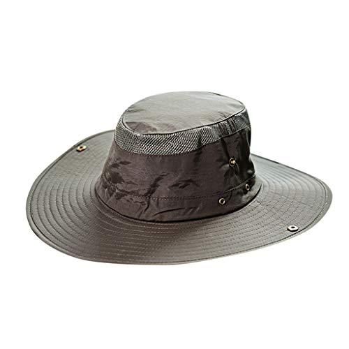 (Men's Summer Sun Bucket Hats UV Protection Safari Hiking Wide Brim Beach Foldable Mesh Fishing Cap Army Green)