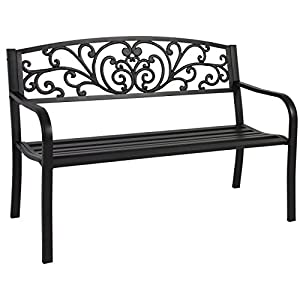 "Best Choice Products 50"" Patio Garden Bench Park Yard Outdoor Furniture Steel Frame Porch Chair Seat by Best Choice Products"