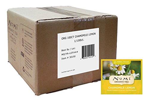 Numi Biological Tea Chamomile Lemon, Caffeine-free Herbal Teasan 100 Count Bulk non-GMO Tea Bags