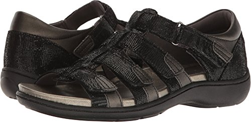 Aravon Women's Bromly Gladiator Sandal, Black, 7.5 B US
