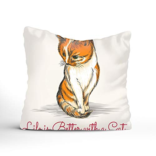 (Pillow Cover The Kitty Cushion Cover Printed Pillow Case 16