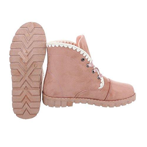 Zapatos para mujer Botas Plano Botines con cordones beige