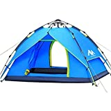 AYAMAYA Camping Tents 3-4 Person [2 Doors] Easy Pop Up, Waterproof [Double Layer] [Quick Setup] Hydraulic Automatic Big Family Beach Dome Tent UV Protection for Hiking Picnic Backpacking Travel