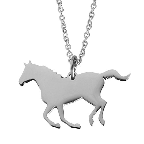 Jewelady Animal Lover Gifts Stainless Steel Animal Charm Pendant Necklace (Racing Horse)