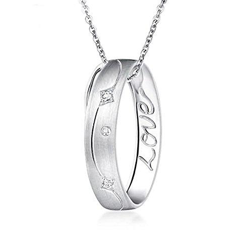 Adisaer 18k(750) White Gold Women Necklace Ring Engraved '' Love'' Pendant Round Diamond Wedding Necklace by Adisaer