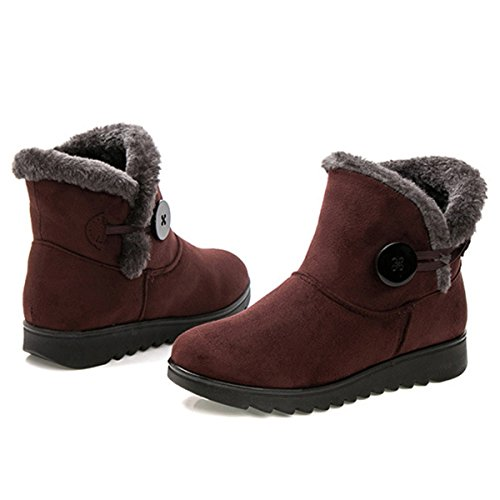 Ankle Fur Women's B Comfortable Suede Snow Boots gracosy Snow Winter Soft Buckle Warm Non Boots M 8 Lining US Brown Slip FP0wwxp