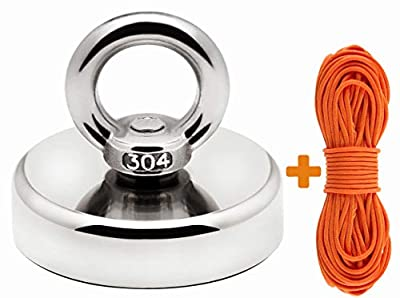 Super Strong Fishing Magnet | 330 lbs Pulling Force Rare Earth Neodymium Magnet with Countersunk Hole and Eyebolt | Diameter 2.36 inch (60mm) with 100 feet Rope | for River and Magnetic Fishing