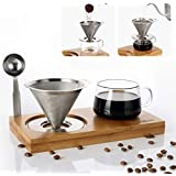 4 pcs/set, Single Serve Coffee Maker, Stainless Steel Coffee Dripper, Pour Over Coffee Maker, One Cup Coffee Maker Set, 8 oz Coffee Cup, Convenient Compact Dishwasher Safe Paperless Gift-ready Package