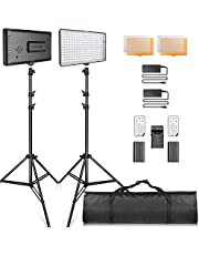 SAMTIAN LED Video Lighting Kit with Stand LED camera lighting 240pcs 3200/5600K Beads Including Battery Charger Mini Ball Head and Carry Case for YouTube Studio Photography Lighting, Video Shooting
