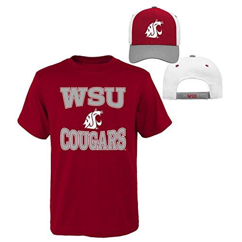 (NCAA Washington State Cougars Youth Boys 8-20 Tee & Hat Set, Medium (10-12), Assorted Colors)