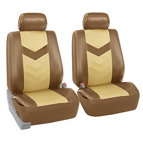 FH GROUP FH-PU021102 Synthetic Leather Pair Set Car Seat Covers Airbag Compatible, Beige / Tan Color- Fit Most Car, Truck, Suv, or Van FH Group Seat Covers