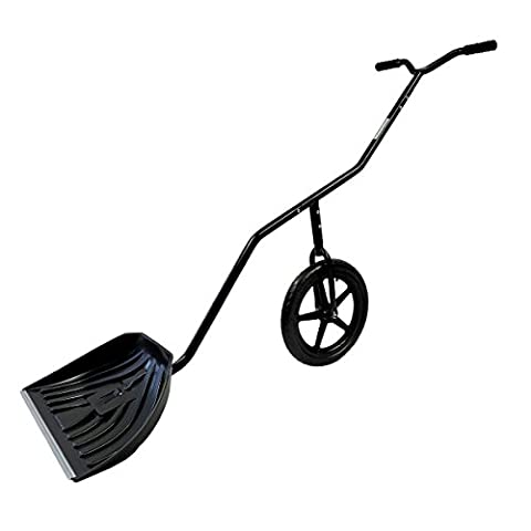 "EasyGo Snow Lever - Adjustable Height Single Wheeled Snow Thrower Shovel - 24"" Wide, 15"" Deep Concave Shovel Head with Easy Rolling 16"" (Snow Rakes Roof Plastic)"