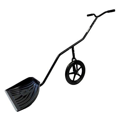 "EasyGo Snow Lever - Adjustable Height Single Wheeled Snow Thrower Shovel - 24"" Wide, 15"" Deep Concave Shovel Head with Easy Rolling 16"" Wheel (Roof Rake Garant Poly)"