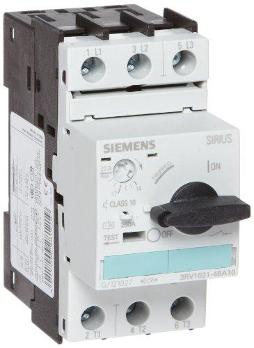 Siemens 3RV1021-4BA10 Motor Starter Protector, Screw Connection, 3RV102 Frame Size, 14-20 FLA Adjustment Range, 260A Instantaneous Short Circuit Release, 65kA UL Short Circuit Breaking Capacity at (Siemens Motor)