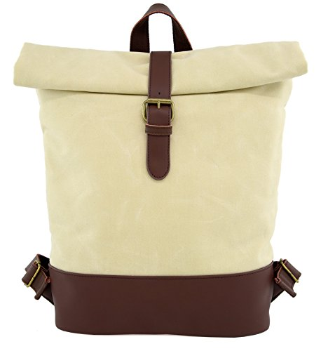 Angelina's Palace Laptop Backpack Rolling Canvas Leather Backpack Waterproof Bookbag