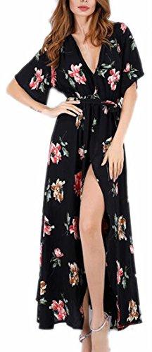Women Print Slit Side Floral Long Jaycargogo Dresses 2 Bohemian Maxi dqRwtgn7n