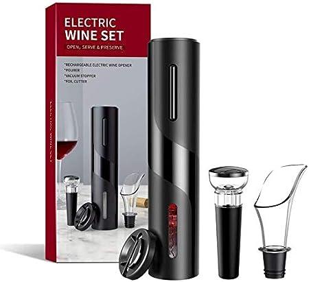 WZRY Conjunto de 4 Piezas Conjunto de abridor de Vino eléctrico Conjunto de sacacorchos automático Contiene Cortador de láminas, tapón de vacío con Marca de Tiempo, Vino del aireador con luz LED