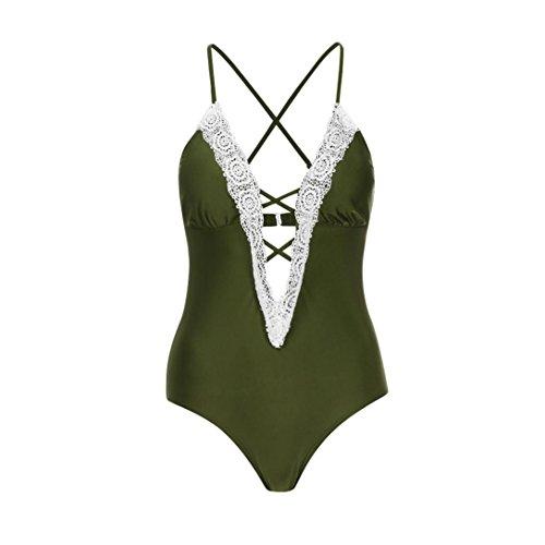 FeiXiang Bikini Ejercito de Up Sexy Bikini Mujer Baño PoliésterConjunto Ropa Sujetador verde Punto Bikini Estampado de de Push Acolchado Playa rBFxwprtq