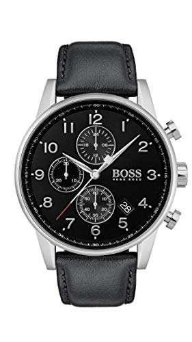 Navigator Leather Compass - BOSS Men's Navigator Quartz Stainless Steel and Leather Strap Casual Watch, Color: Black (Model: 1513678)
