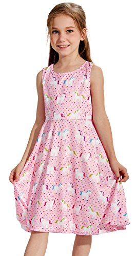 Animal Print Dress for Girls, Little Girls Round Neck Sleeveless Slim Fit Casual Dresses Horse Dress Pink White (S,Horse)