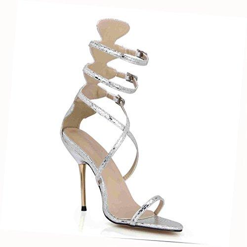 la EU39 para de 7CM Premium verano boda Zapatos básicas PU bombas Cremallera Correas de Tacones cruzadas de altos Sandalias la Silver Best goma mujer 10 4U® de Cómodas Peep toe suela nIqTATp