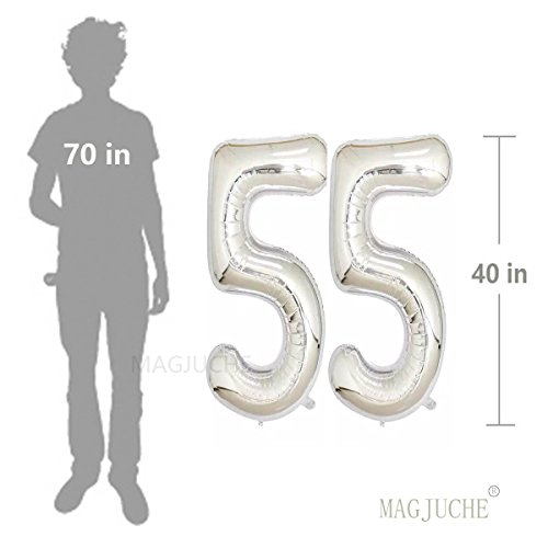 40inch Silver Foil 55 Helium Jumbo Digital Number Balloons 55th Birthday Decoration For Women Or Men Party Supplies