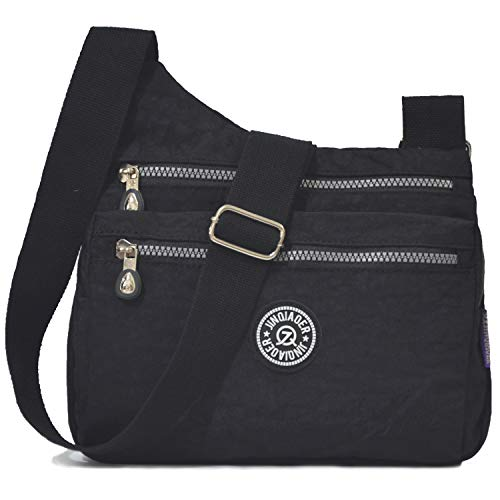 STUOYE Nylon Multi-Pocket Crossbody Purse Bags for Women Travel Shoulder Bag (Z187 Black)