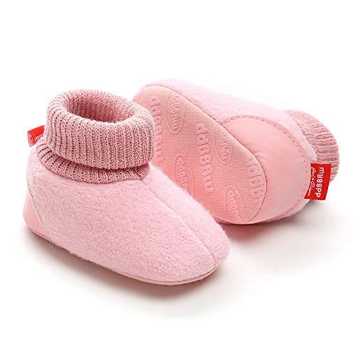 Tutoo Unisex Baby Newborn Plush Fleece Ankle Booties Infant Boys Girls Socks Winter Warm Cotton Slippers Soft Anti Slip First Walker Shoes (4.7 inches(6-12 Months), C-Pink) ()