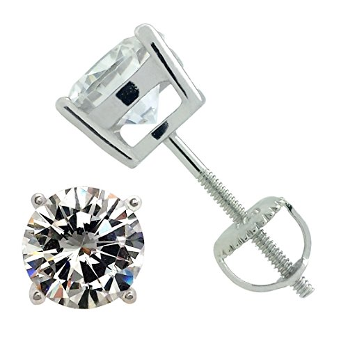 - 925 Sterling Silver Round Solitaire Cz Screw Back Stud Earrings Rhodium Plated (4mm Screwback Stud)