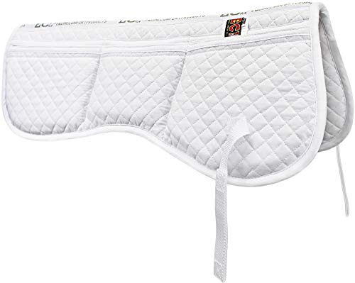 ECP All Purpose Diamond Quilted Cotton English Half Saddle Pad with Therapeutic Contoured Correction Support Pockets - 18 Memory Foam Shims Included (Pad English Saddle Pads Saddle)